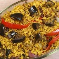 riso basmati al curry con melanzane e peperoni