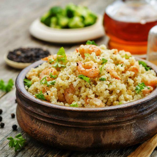 Quinoa e gamberi